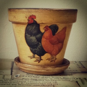 La Poule de Grand Mere hand decorated planter pot with crackled finish from The Lansdowne House